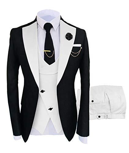 Men's Suits for Wedding Slim Fit 3 Pieces Suit Groom Tuxedos Blazer Tux Vest Trousers Prom Suits Navy Blue