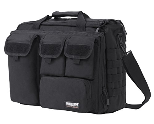 Seibertron PRO- Multifunction Mens Military Tactical Outdoor Shoulder Messenger Bag Handbags Briefcase Large Enough for 17.3' Laptop/Sony/Canon/Nikon/Olympus/iPad 2 Years Warranty Black