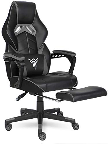 ELECWISH Gaming Chair Ergonomic High Back Racing Style with Adjustable Armrest and Retractible Footrest PU Leather Back Recliner Swivel Rocker Office Chair(2020) Gray