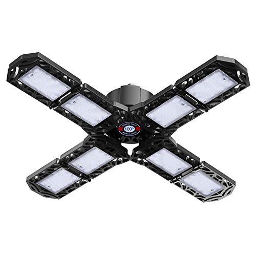 SSYS Luz De Garaje LED Fácil De Instalar,Luz De Garaje con 8 Luces Paneles Deformables E26 / E27 15000 Lúmenes 6500 K, Iluminación De Garaje, para Taller De Almacén De Garaje