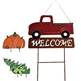 MorTime Hanging Train Welcome Sign with Pumpkin or...