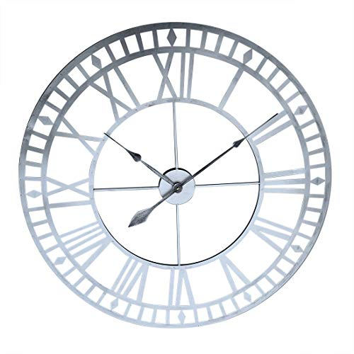 Teakpeak Reloj de Pared XXL Vintage, Reloj de Pared Grande Salon 80cm, Reloj de Pared Metalico con Número Romano