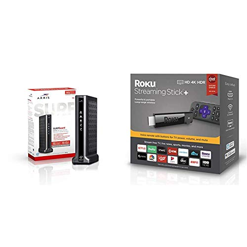 ARRIS Surfboard T25 DOCSIS 3.1 Gigabit Cable Modem & Voice & Roku Streaming Stick+ | HD/4K/HDR Streaming Device with Long-Range Wireless and Voice Remote with TV Controls
