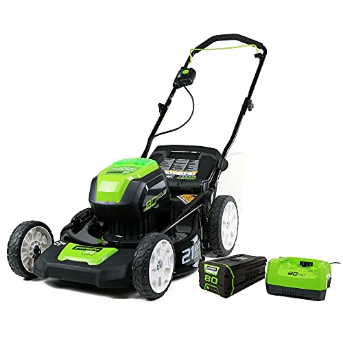 Greenworks Pro 80V 21 Inch Cordless Push Lawn Mower, Includes 4Ah Battery and Charger, 2501202