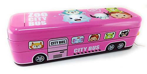 Stunning Bus Pull Back Pencil-Box | Compass Box with Wheels | String Operated for Birthday for Boys/Girls (Pull Back II)