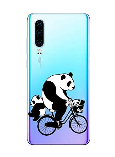 Oihxse Silicone Crystal Coque pour Huawei Mate 9 Pro Ultra-Thin Transparente Gel TPU Souple Etui Design Motif Mignon Panda Protection Antichoc Housse