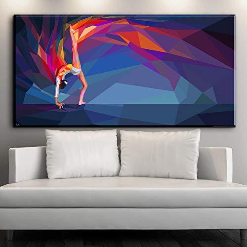 NIMCG Abstrakte sportliche Mädchen Kunst Gymnastik Leinwand Malerei Wohnkultur Wand Kunstdruck Bild Poster Ölgemälde (kein Rahmen) A1 40x80CM
