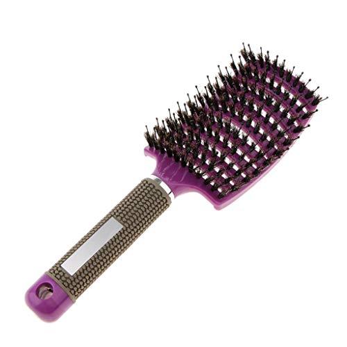 Haarbürste Wildschweinborsten, gebogene Vent Haarbürste, Eberborsten Haarentwirrende Bürste für dick, dünn, lockig & nasse Haare - Lila