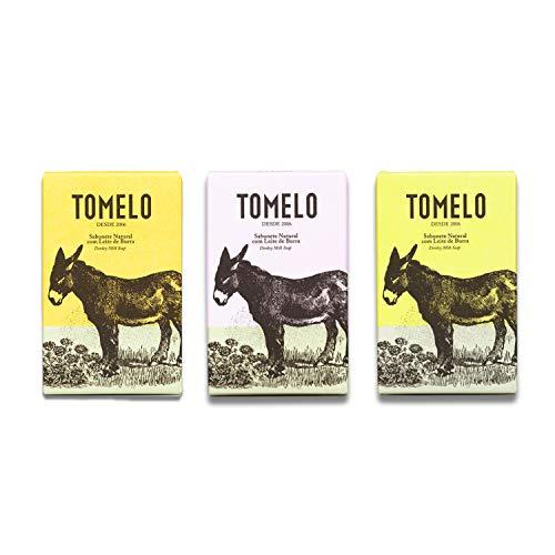 TOMELO -Pack de 3 Jabones Naturales con Leche de Burra- Gel Sólido en Pastilla de 150 g para Limpieza de Manos, Rostro y Cuerpo - Incluye las variedades de Almendra, Miel y Lavanda
