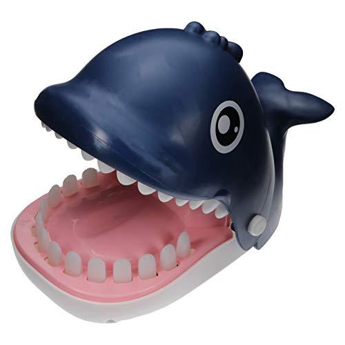 TOYANDONA Wal Zähne Spielzeug Spiel Wal Zahnarzt Beißen Finger Wal Spiel Lustige Witz Spielzeug für Kinder Blau