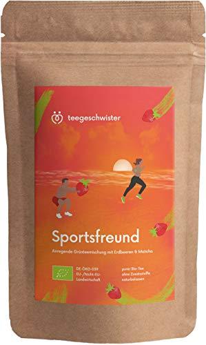 BIO Sportsfreund | natürliches Koffein aus Grüner-Tee Sencha Matcha & Oolong kombiniert mit Ingwer & Erdbeerstücken | teegeschwister | 85g