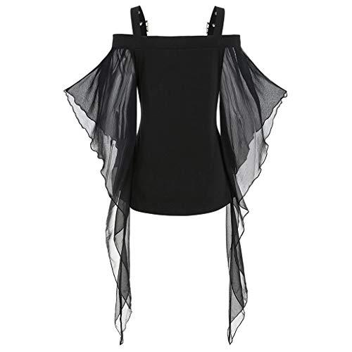 LIMITA Das Halloween-gotische T-Shirt der Frauen Criss Cross - T-Shirt mit Schmetterlingsärmeln und Spitzeneinsatz