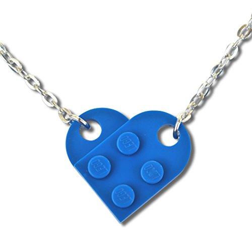 Lego Herz-Anhänger für Halskette, zur Hochzeit, Valentinstag etc., Blau