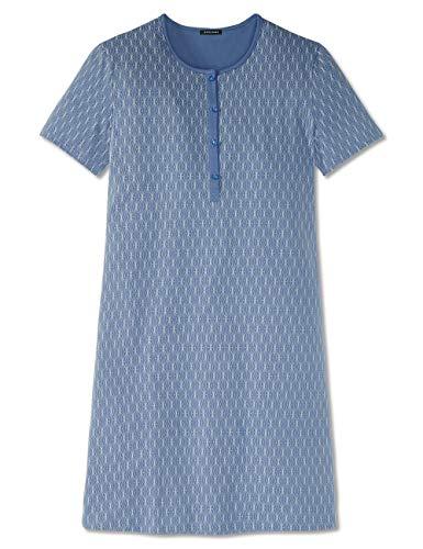 Schiesser Damen Sleepshirt 1/2 Arm, 90Cm Nachthemd, Blau (Indigo 824), (Herstellergröße: 44)