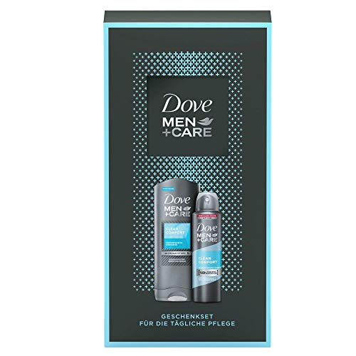 Dove Men+Care Geschenkset Clean Comfort für gepflegte Haut mit Duschgel und Deospray (250 ml + 150 ml)