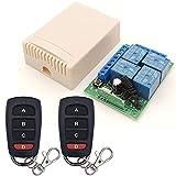 Interruptor de control remoto DC 12V 4 CH Smart 433MHz RF Módulo receptor de relé inalámbrico con 2 transmisores, para maletero de camión, motor, garaje, cerradura eléctrica, 3 modos de trabajo