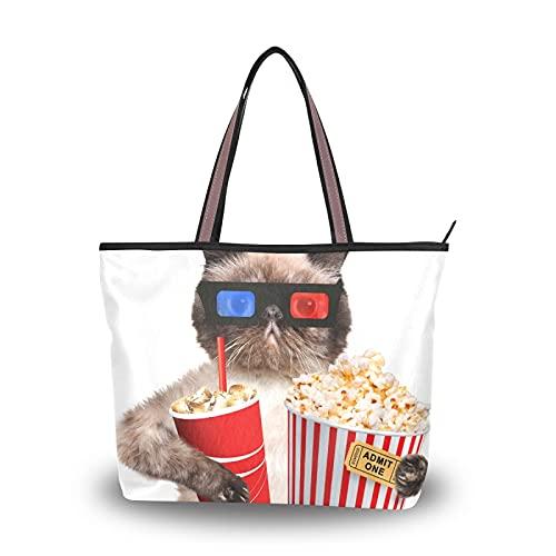 NaiiaN für Mutter Frauen Mädchen Damen Student Leichte Riemen Handtaschen Lustige Katze Kätzchen Film ansehen Schultertaschen Einkaufstasche Geldbörse Einkaufen