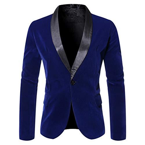ZCZH Men's Blazer Mens Autumn New Casual Blazer Business Jacket Tops Spring Fashion Button Lapel Classic Jacket Tuxedo Winter Breathable Suit Jacket Slim Fit L