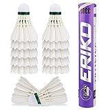 Zorara Volant Badminton, 12 Pcs Volants de Badminton, Volant Badminton Plume Une Grande Stabilité et Durabilité, Badminton Balles...