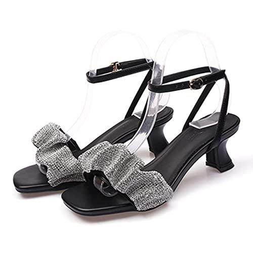 YIA Sandalias de tacón Medio para Mujer, cinturón de Palabra de Temperamento de Diamantes de imitación de Verano, Tacones Altos, Zapatos Romanos de tacón Grueso 38 Negro