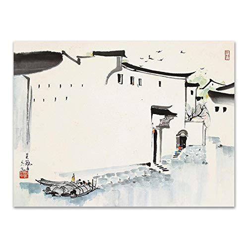 Pittura a inchiostro stile cinese Huapai Architettura Paesaggio Canvas Dipinti Poster E Stampa Per Living Home Decor-(50x60cm/19.7 'X 23.6') Senza Cornice