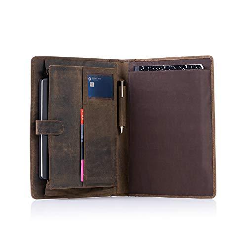 KomalC Leather Business Portfolio Folder Personal Organizer, Luxury Full Grain Leather Padfolio, Leather Folder (Buffalo Distressed Tan)