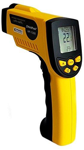 HoldPeak HP-1300 Infrarot-Thermometer 16:1, -50-1300°C, einstellbare Emissivität Pyrometer Laser gelb/grau