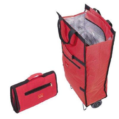 Jata Bolsa Trolley con Asa de Transporte y Ruedas Plegables Extra Resistentes, Poliéster y Lámina de Aluminio, Rojo, 35.5x17x50 cm
