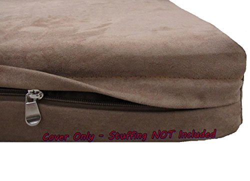 Dogbed4less DIY Pet Bed Pillow Brown Microsuede Duvet Cover and Waterproof Internal case for Dog at 55X37X4 Inch - Covers only