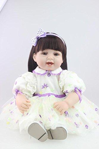 Nicery Reborn Baby Doll Réincarné bébé Poupée Haute teneur Vinyle 22 Pouces 55cm Qui Semble Vivant Garçon Fille Jouet Vif réaliste Âge 3+ Sourire Princesse Robe Blanche Violet