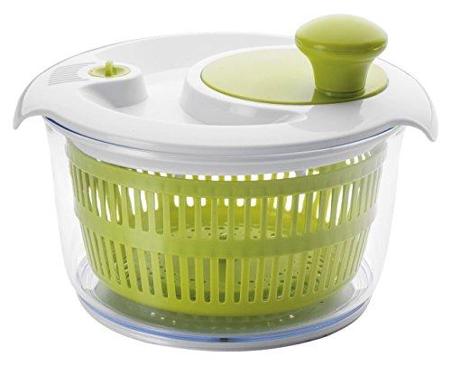 IBILI Salatschleuder Comfort mit Kurbel-Funktion 20 cm, Kunststoff, weiß/grün, 20 x 20 x 14 cm