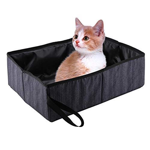 Boîte à litière pour Chat, Boîte à litière pour Animaux de Compagnie imperméable Pliable portatif pour Animaux Easy Clean Kitty Litière Pan Boîte de Toilettes pour Chat lit Nest House(Noir)