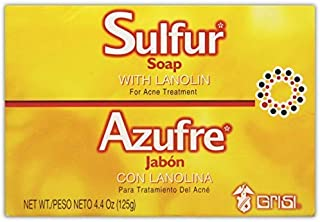 Grisi Sulfur Acne Soap Bar | Sulfur Face Soap for Acne Treatment, Helps Clear Up Pimples and Blemishes; 4.4 Ounces