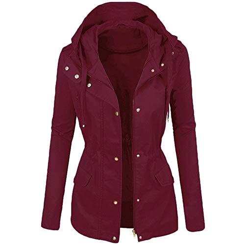Aiserkly Parka de invierno para mujer, impermeable, con capucha, color liso, solapa corta, para motocicleta, de piel, chaqueta piloto, chaqueta de cárdigan ligera, activa, cortavientos, 8-22 UK