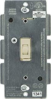 Jasco Z-Wave Dimmer Wall Toggle Switch, No Neutral, Light Almond, Incandescent Bulbs Only(45717)