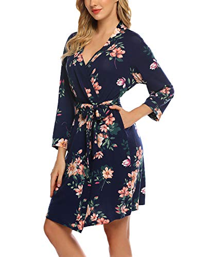 Hotouch Women Kimono Robes Cotton Lightweight Robe Short Knit Bathrobe Soft Sleepwear Ladies Loungewear S-XXL (M, Navy Floral)