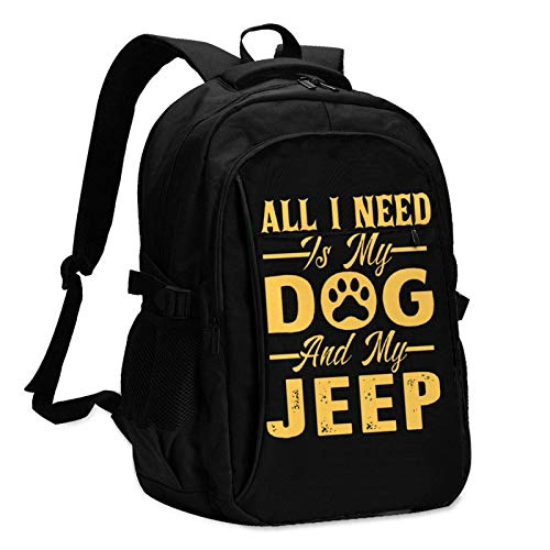 XCNGG All I Need is My Dog Je-ep Unisex Travel Laptop Backpack with USB Charging Port School Anti-Theft Bag