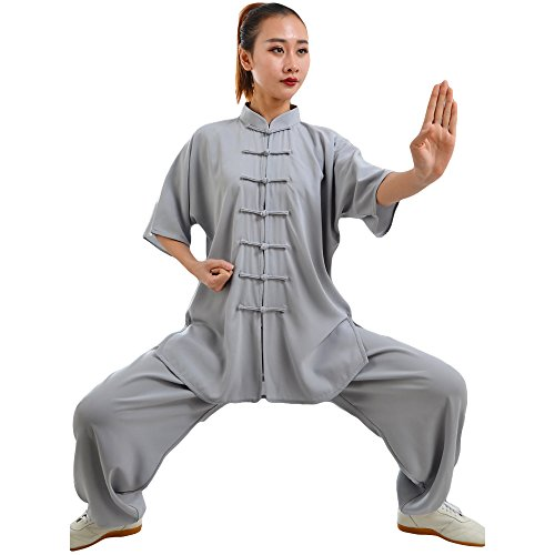 ZooBoo Unisex Cotton Blend Short Sleeves Tai Chi Suit Morning Exercise Uniform Kung Fu Clothing (XL, Gray)
