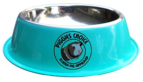 Piggies Choice Non-Tip Metal Guinea Pig Pellet Feeding Bowls Matches The Space House Guinea Pig Hidey (Single Bowl, Teal)