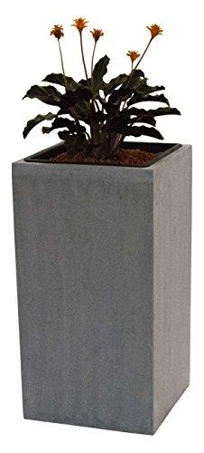Pflanzkübel Blumenkübel Pflanztopf Blumentopf Übertopf Fiberglas Säule LxBxH 30x30x90cm grau.