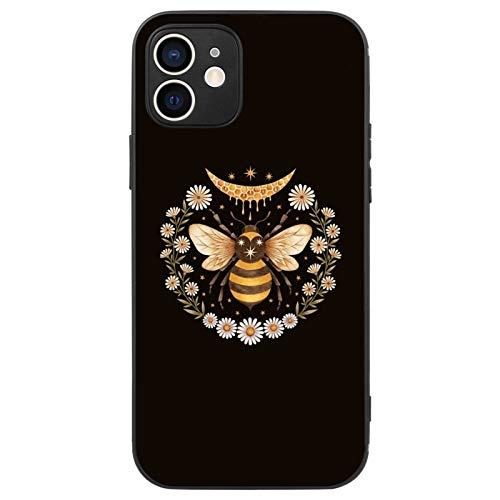 FAUNOW Schutzhülle für iPhone 12 Mini, matt, ultradünn, stoßfest, mit Biene, Schwarz