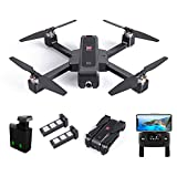 MJX Bugs 4W Drone 2K 5G WiFi Camera Drone, Foldable GPS B4W RC Quadcopter with Bugs GO App Operation Altitude Hold Track Flight Double Charging 3400mAh 2 Battery (Black Mjx B4w)