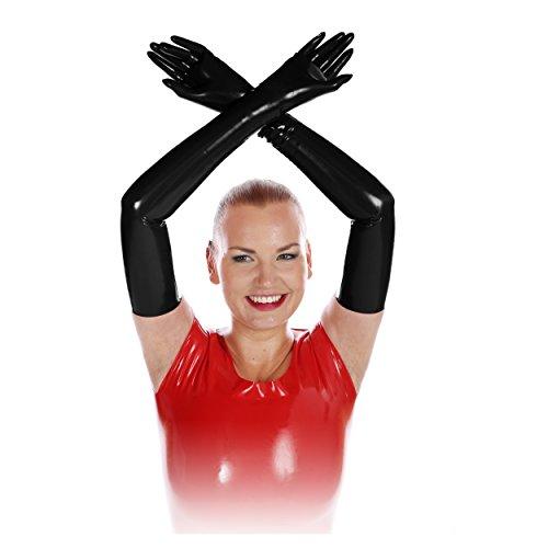 Rubberfashion - Paire de gants sexy en latex pour pratiques sexuelles - femme et homme (unisexe) - long - noir - XL / 0,4 mm/taille de gant : 9