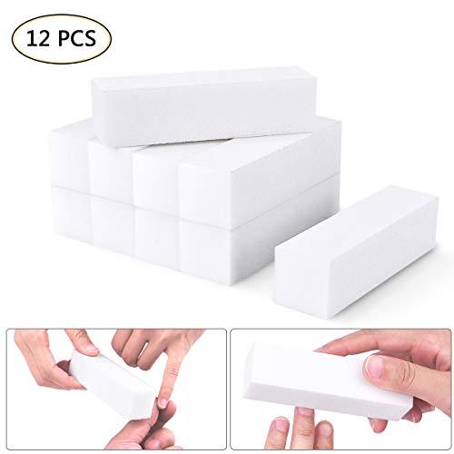 OZUAR 12 Piezas Bloque de Lijado Blanco Lima de Esponja Herramientas de Punta de Arte de Uña de Manicura (Materiales EVA, 9.6cm * 2.5cm * 2.5cm)