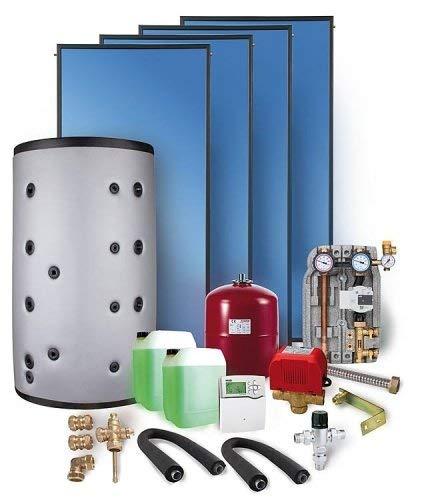 Solaranlage Komplettpaket SX2.51 10,04m² Flachkollektor mit Frischwasserspeicher 800l Heizung
