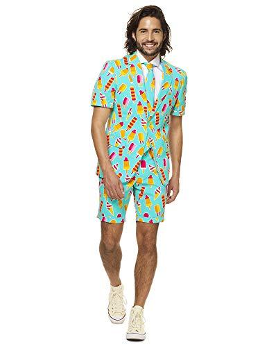 OppoSuits Herren Men Suit Business-Anzug Hosen-Set Inklusive Shorts, Kurzarmjacke & Krawatte, Cool Cones, 54 EU