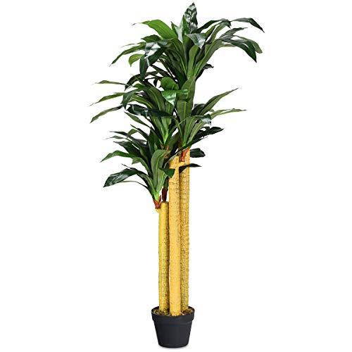 COSTWAY Arbre Artificiel Plante Artificielle en Pot Convient pour Intérieur ou Extérieur Dracéna Vert 140cm