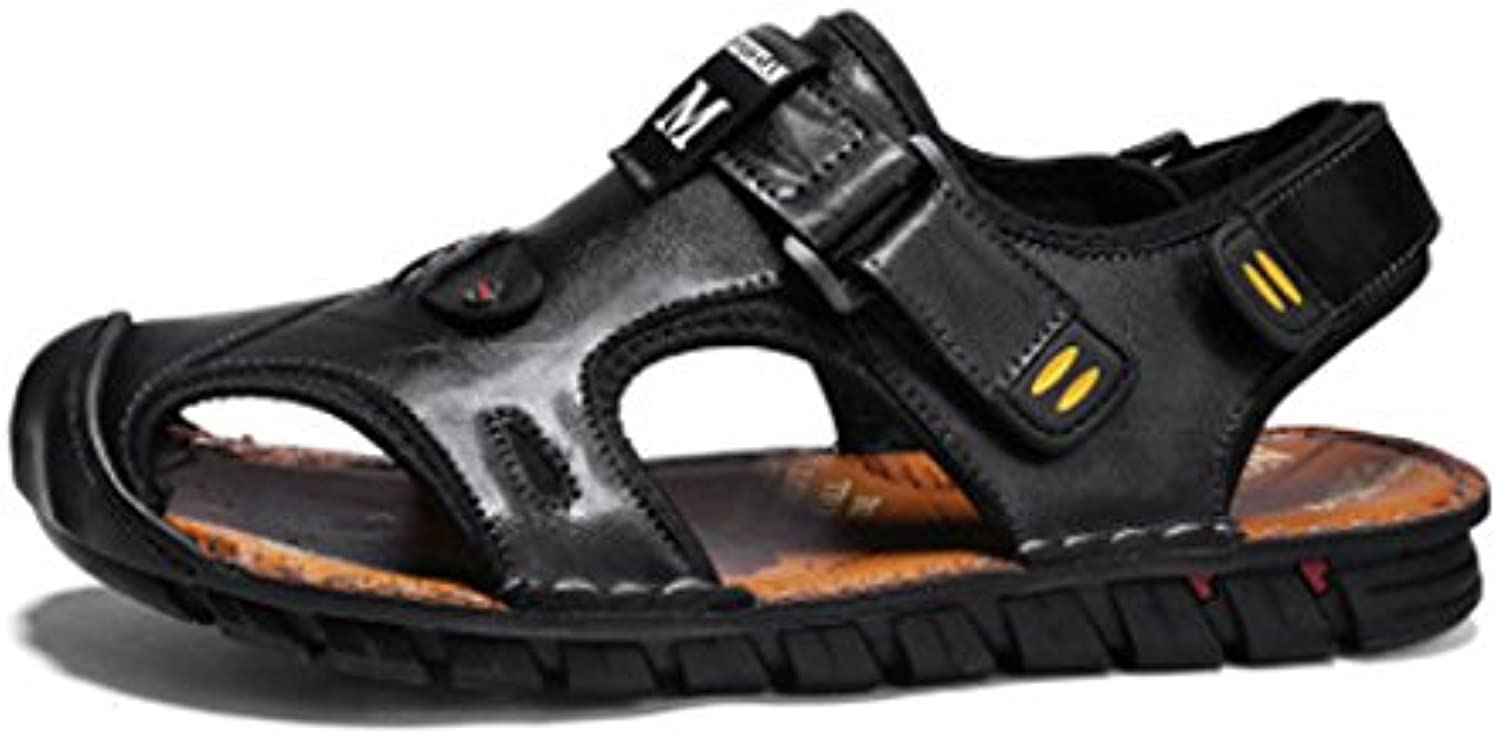 HAOYUXIANG Summer Sandals men Waterproof non-slip breathable leather Baotou shoes fashion hundred cool shoes casual men's shoes (color   Black, Size   39)