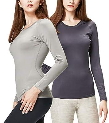 DEVOPS Women's 2 Pack Thermal Long Sleeve Shirts Compression Baselayer Tops (Medium, Charcoal/Light Grey)