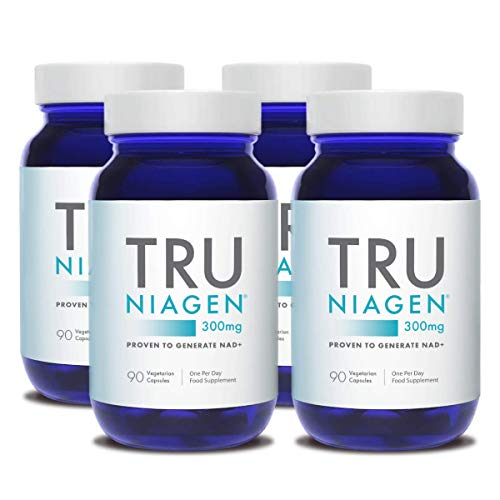 TRU NIAGEN Nicotinamide Riboside Chloride - Patented NAD Precursor for The Reduction of Tiredness and Fatigue, 300mg Vegetarian Capsules, 300mg Per Serving, 90 Day Bottle (4 Pack)